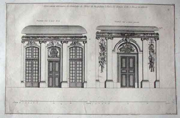 Copper Engraving From A French Design Volume LArchitecture Francaise By Jean Mariette On Laid Probable Pre 1800 Paper Let Into