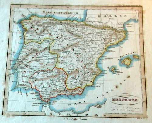 Spain Portugal Antique Prints From Heatons - Portugal map size